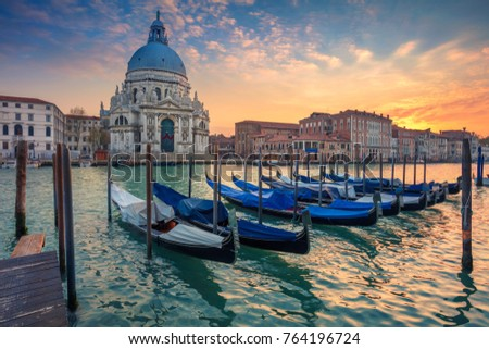 View of Venice Grand Canal and Santa Maria della Salute church on sunset Stock photo © dmitry_rukhlenko