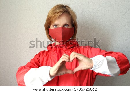 Homemade protective mask with hearts on white background, Prevent Coronavirus, protection factor for Stock photo © Natalia_1947