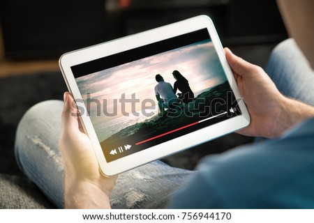 Watching Streaming Video Or TV Movie Online Stock photo © AndreyPopov