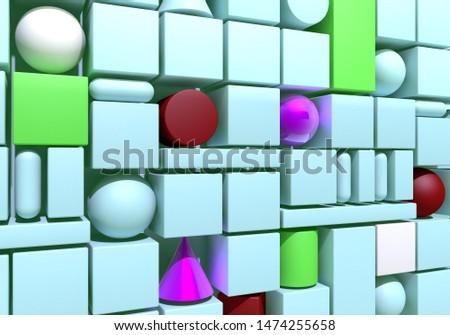 Abstrato 3d render múltiplo azul roxo cilindro Foto stock © Melvin07