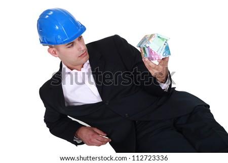 azul · casa · dinheiro · caixa · homem · mão - foto stock © photography33