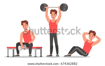 adult smiling man doing workout sport fitness isolated on white stock photo © juniart