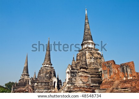 famous temple area Wat Phra Si Sanphet, Royal Palace in Ajutthay Stock photo © meinzahn