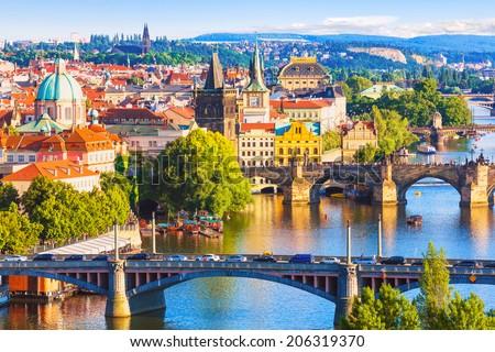 Belo ver Praga panorama telhados castelos Foto stock © tannjuska