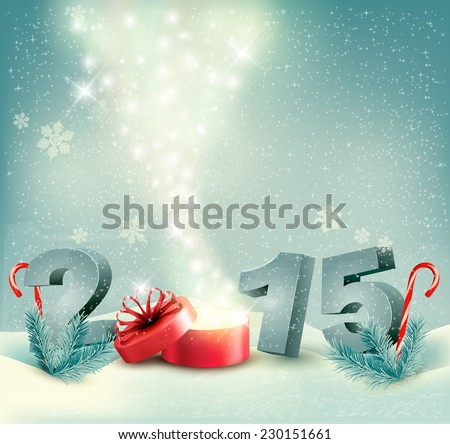 happy new year 2015 on red background with christmas baubles stock photo © voysla