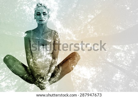 composite image of toned woman doing the butterfly stretch stock photo © wavebreak_media