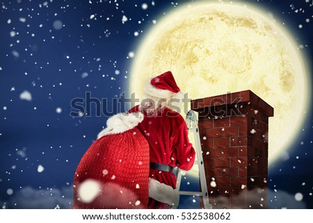 composite image of santa steps up a ladder stock photo © wavebreak_media