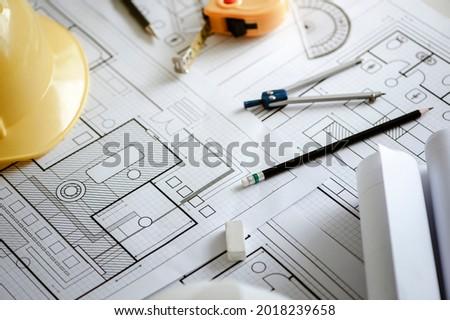 Otthon mérőszalag védősisak ceruza iránytű ház Stock fotó © feverpitch