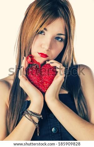 Stüdyo portre seksi sarışın kırmızı elbise deri Stok fotoğraf © restyler