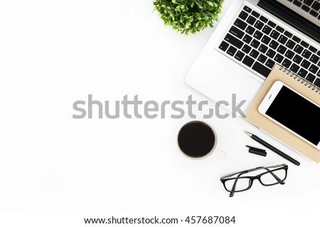 modern · technológiák · fehér · asztali · kilátás · munka - stock fotó © tab62