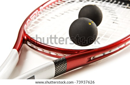 close up of a red and silver squash racket and ball on a white background with space for text stock photo © tish1