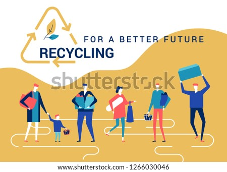 Recycling for a better future - flat design style colorful web banner Stock photo © Decorwithme