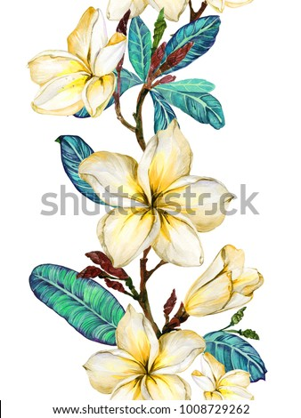 floral seamless pattern hand drawn blue and yellow head of flowers colorful artistic background wi stock photo © user_10144511