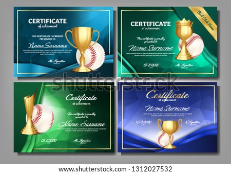 Baseball Certificate Diploma With Golden Cup Vector. Sport Vintage Appreciation. Modern Gift. Print  Stock photo © pikepicture