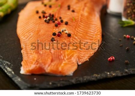 Vacsora tányér kenyér lazac friss zöldségek hal Stock fotó © tycoon