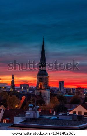 Церкви красочный закат небе силуэта Сток-фото © 5xinc