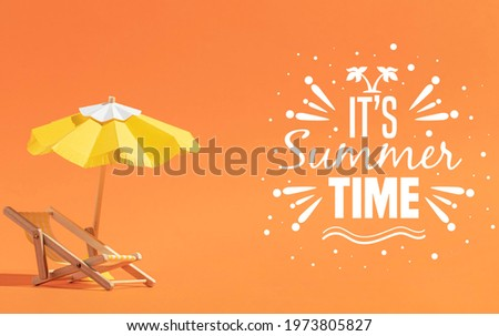 It's Summer Time Illustration with Typography Letter and Tropical Plants on Blue Background. Vector  Stock photo © articular