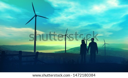 Couple of tourists against the background of wind power plants in twilight Stock photo © ConceptCafe