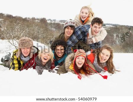 グループ · 十代の · 友達 · 風景 · 着用 - ストックフォト © monkey_business