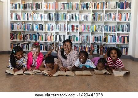 Foto stock: Ver · feminino · professor · leitura