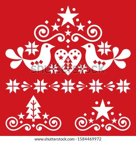 Christmas Scandinavian folk art vector design  - single patterns collection with hearts, flowers, sn Stock photo © RedKoala