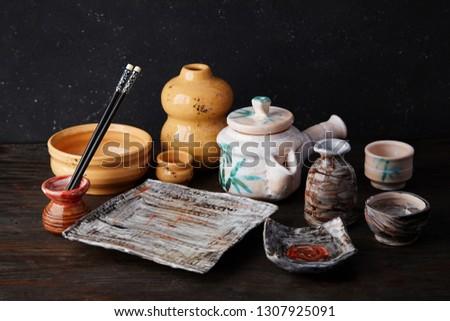 Szett üres kerámia edények szusi tekercsek Stock fotó © dash