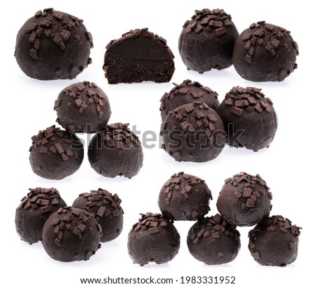 Dark chocolate candies isolated on white background, sweet food and dessert Stock photo © Anneleven