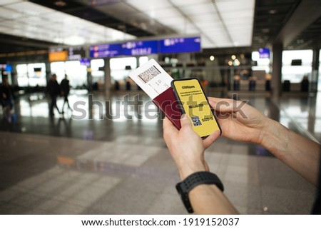 Coronavirus travel face mask with passport, plane ticket, luggages for airport traveling to summer v Stock photo © Maridav