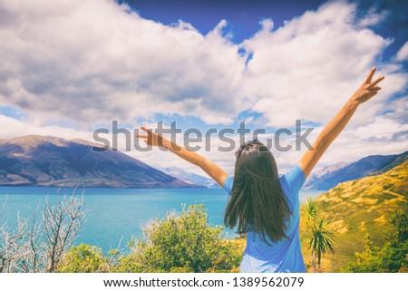 Új-Zéland utazás boldog turista nő felirat Stock fotó © Maridav