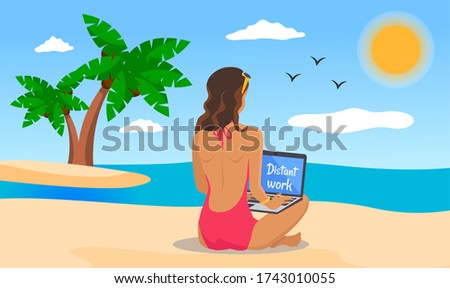 Distant work, woman wearing swimsuit with laptop at beach working near the sea, island with palms Stock photo © robuart