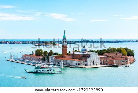 Aerial view of Venice lagoon with boats and San Giorgio di Maggiore church. Venice, Italy Stock photo © dmitry_rukhlenko