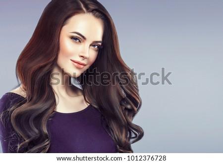 エレガントな 女性の笑顔 ブルネット 長い 光 茶色の髪 ストックフォト © Anneleven