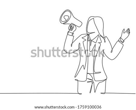 Fiatal személy kiált hangfal nyereség felirat Stock fotó © ra2studio