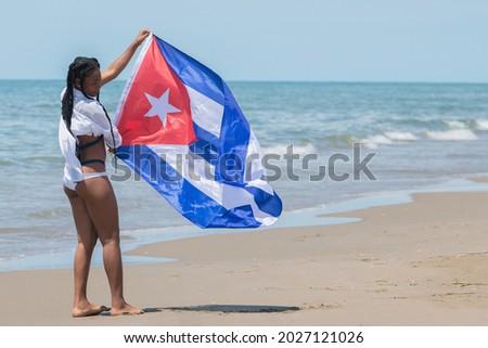 Куба пляж женщину кубинский флаг Сток-фото © Maridav