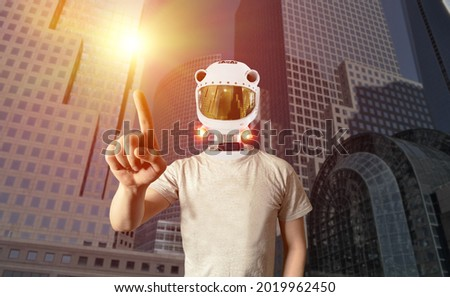 Stock photo: modern male model with futuristic sci-fi visor