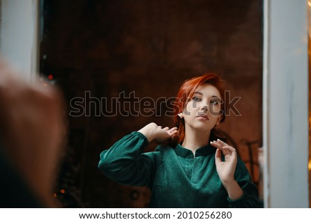 Woman in red dress adjust herself Stock photo © vetdoctor