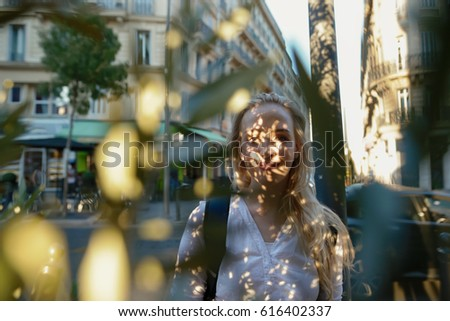 Profile of Futuristic Woman's Face with Openwork Lace in Shadows Stock photo © gromovataya