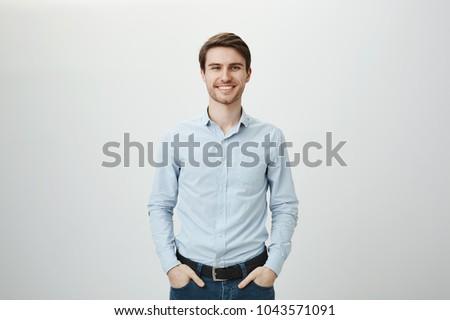 człowiek · biznesu · młodych · strony · świetle · szary - zdjęcia stock © andreypopov
