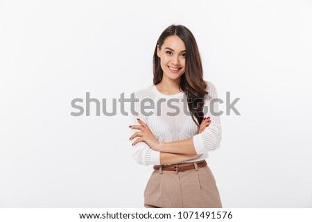 Glimlachend zakenvrouw geïsoleerd witte jonge zakenvrouw Stockfoto © wxin