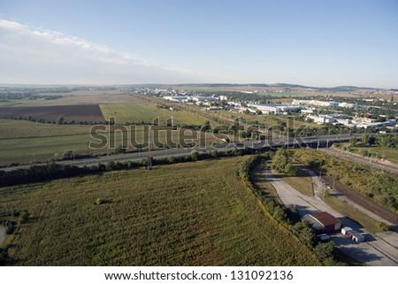 rendkívül · részletes · légi · városkép · útkereszteződés · utak - stock fotó © slunicko