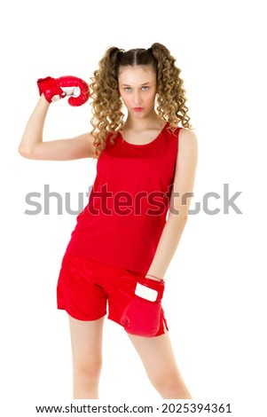Young blonde demonstrating boxing gloves. Stock photo © acidgrey