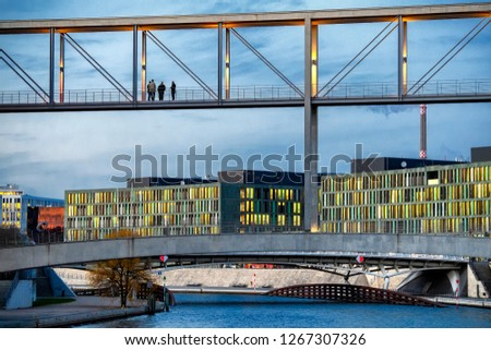 The Marie-Elisabeth-Lueders-Haus and skybridge in Berlin's gover Stock photo © meinzahn