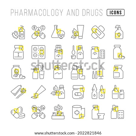 Drugs categories - line design pictograms set Stock photo © Decorwithme