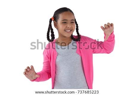 Lány érintés láthatatlan képernyő fehér hátsó nézet Stock fotó © wavebreak_media