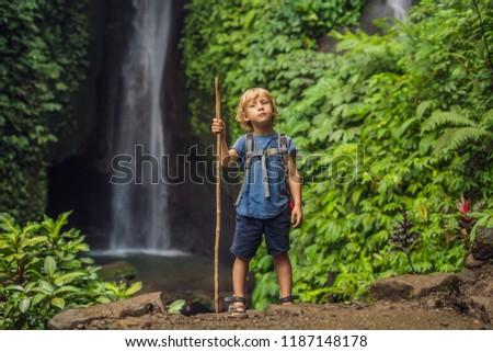 Boy with a trekking stick on the background of Leke Leke waterfall in Bali island Indonesia. Traveli Stock photo © galitskaya