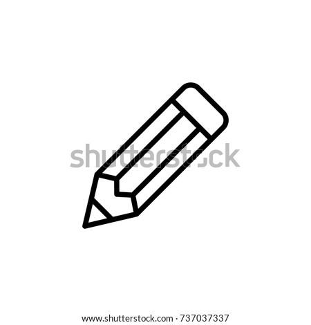 Lápis ícone fino linha sinais educação Foto stock © kyryloff