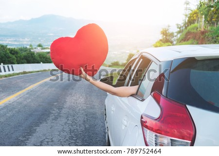 Relaxed happy traveler, Young beatiful asian gilr holding white  Stock photo © Freedomz