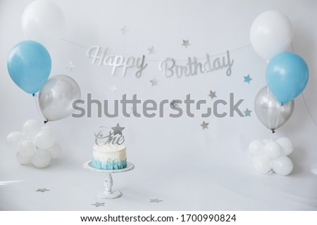 A Happy one Year Birthday with a smash the cake Stock photo © Lopolo