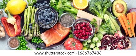 Banner sani colorato alimentare frutta vegetali Foto d'archivio © Illia