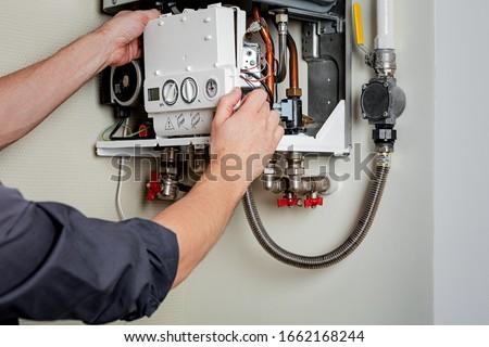 Trabalhador homem homens indústria fábrica máquina Foto stock © Lopolo